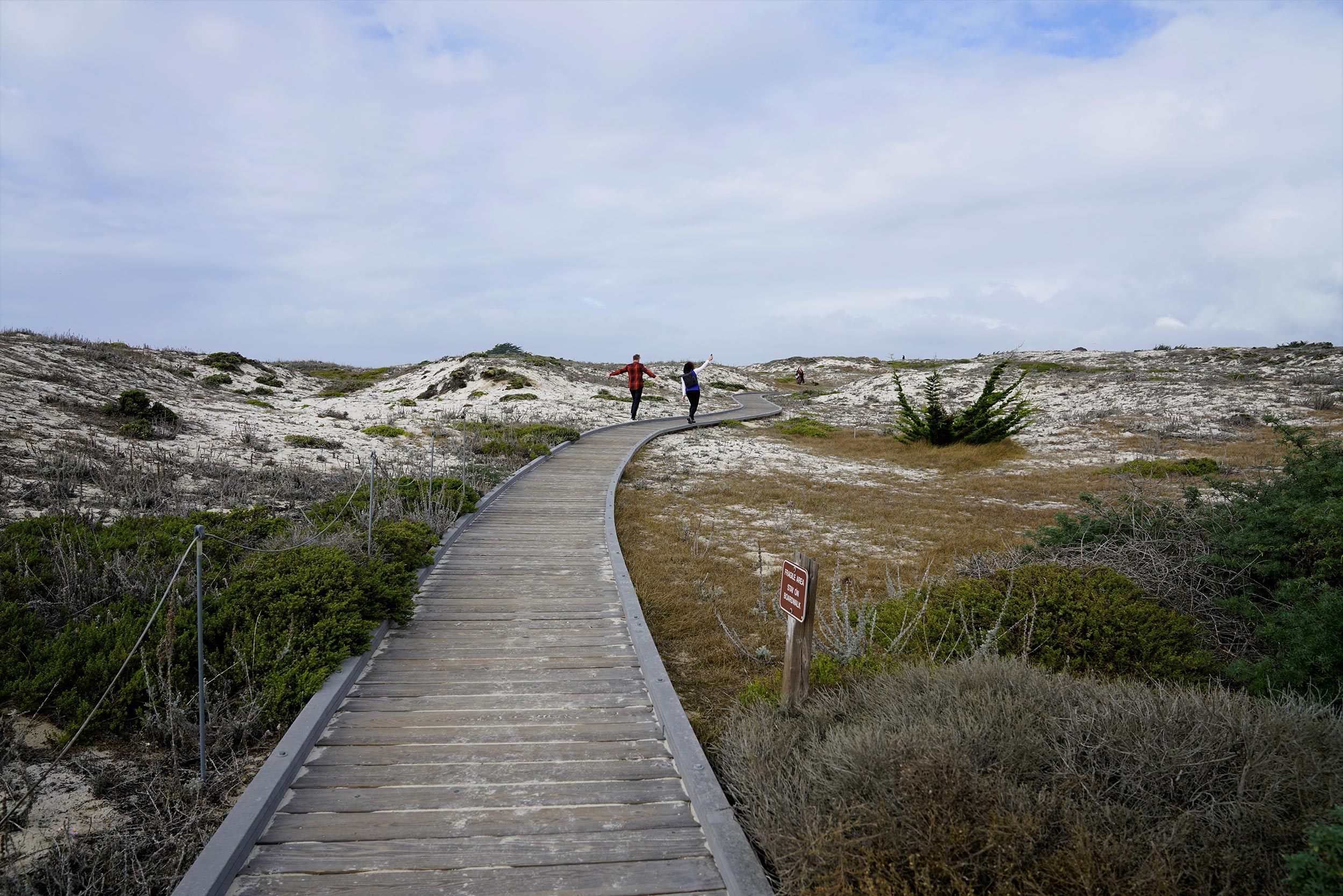 Walking down the boardwalk in Asilomar