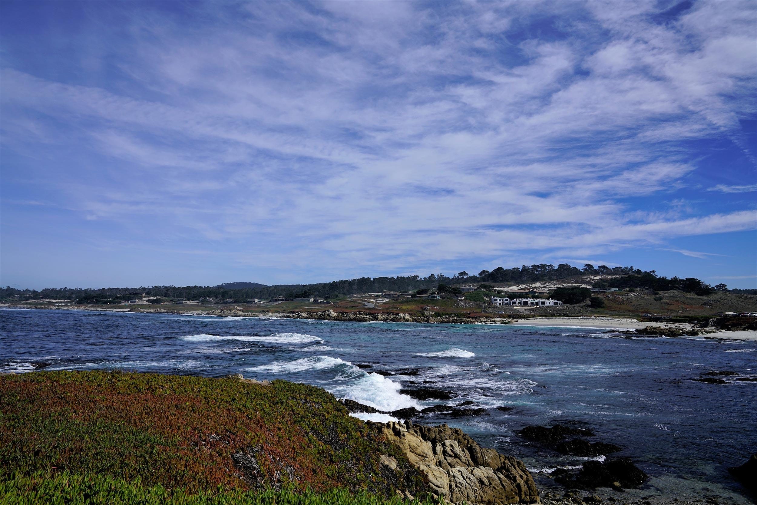 Waves crashing along the Monterey Coast